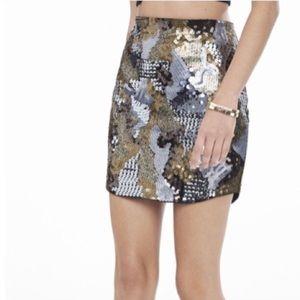 Express Camo Sequin Skirt